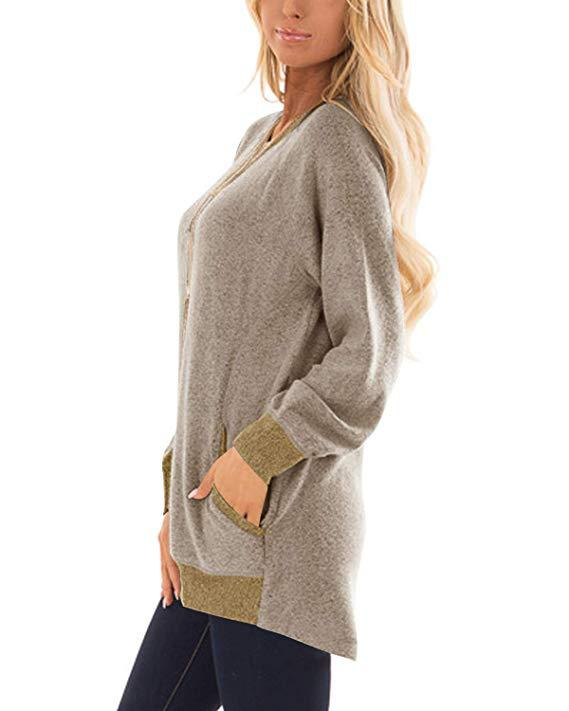 O-neck Solid Casual Pocket Sweatshirt