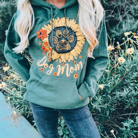 [PRE SALE] Dog Paw Dog Mom Sunflower Hoodie