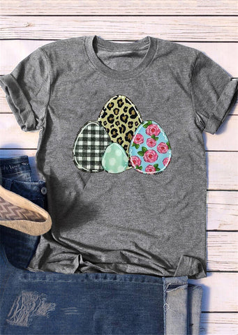 Colorful Eggs Print Novelty Tee