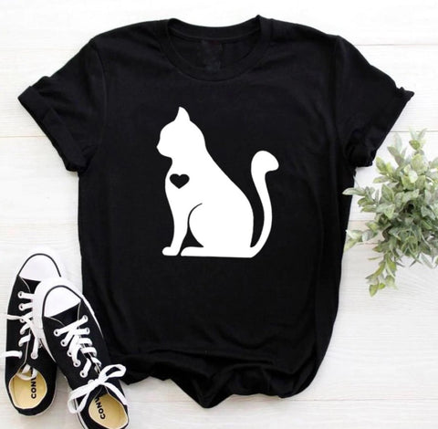 Heart Design Cat Print Tee