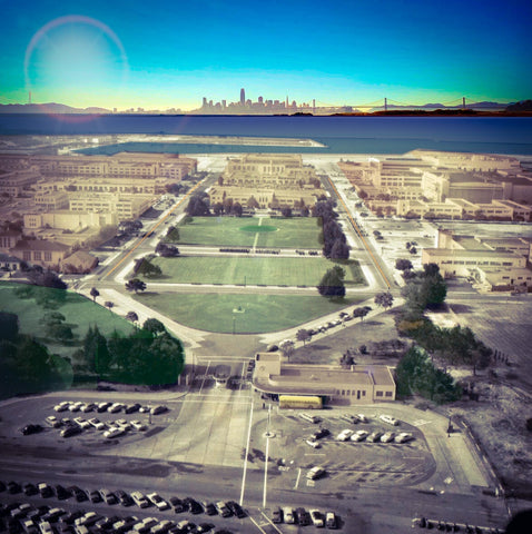 The Old Alameda Naval Base - Colorized with modern San Francisco in the background