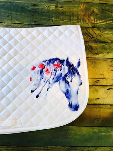 Gorgeous Saddle Pad with Horse Head and Flowers Details