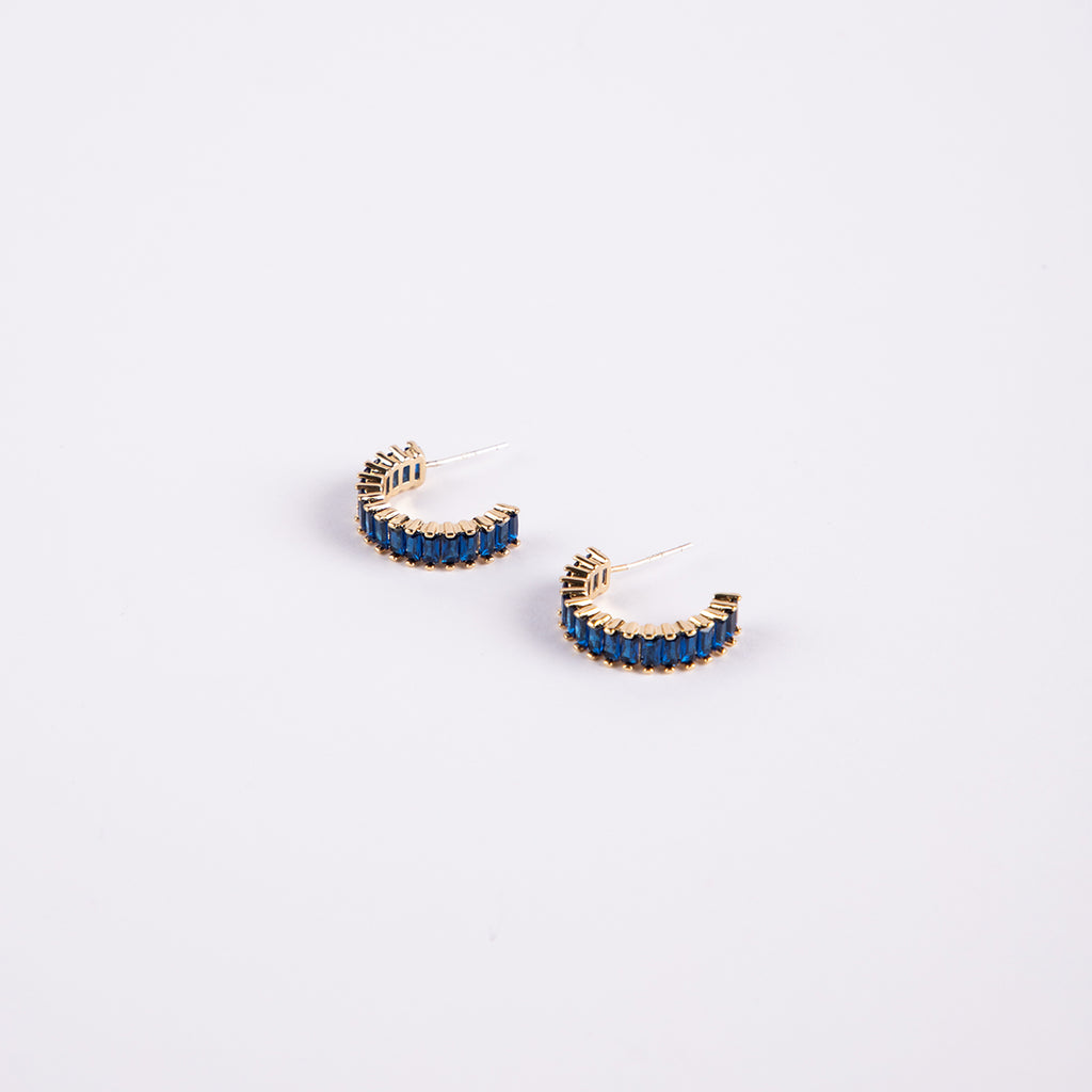 Santiago 14 Carat Gold Plated and Sapphire Cubic Zirconias Hoops