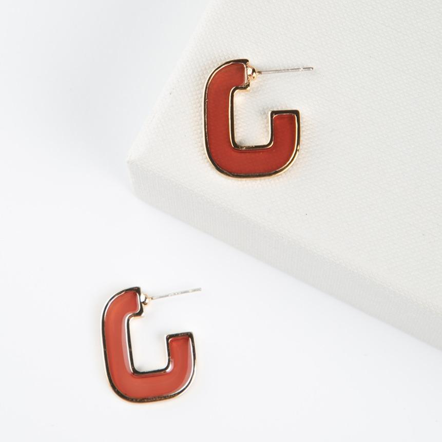 curAtiv proudly gives you Amber Stained Glass Mini Hoop Earrings.