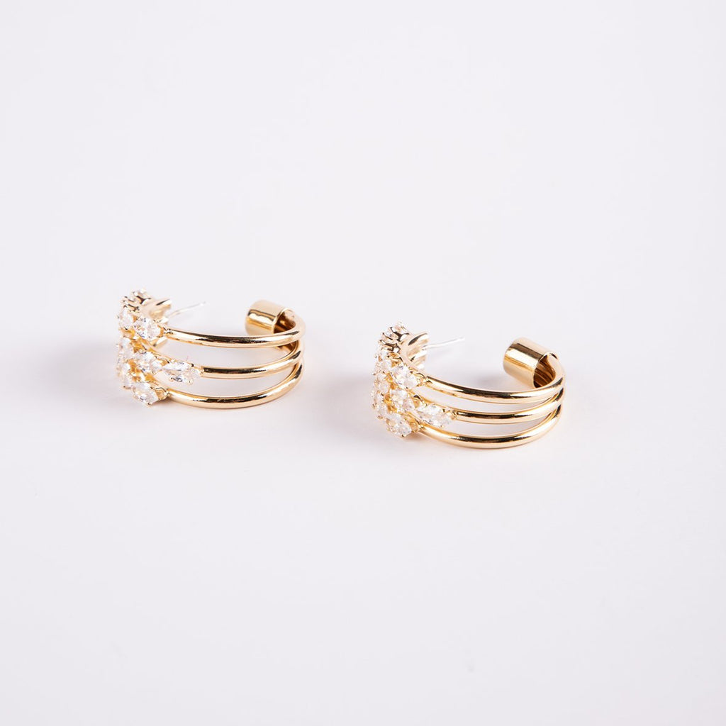 Cannes 14K Gold Plated Triple Hoop Earrings With Marquise Cubics - curAtiv Jewellery