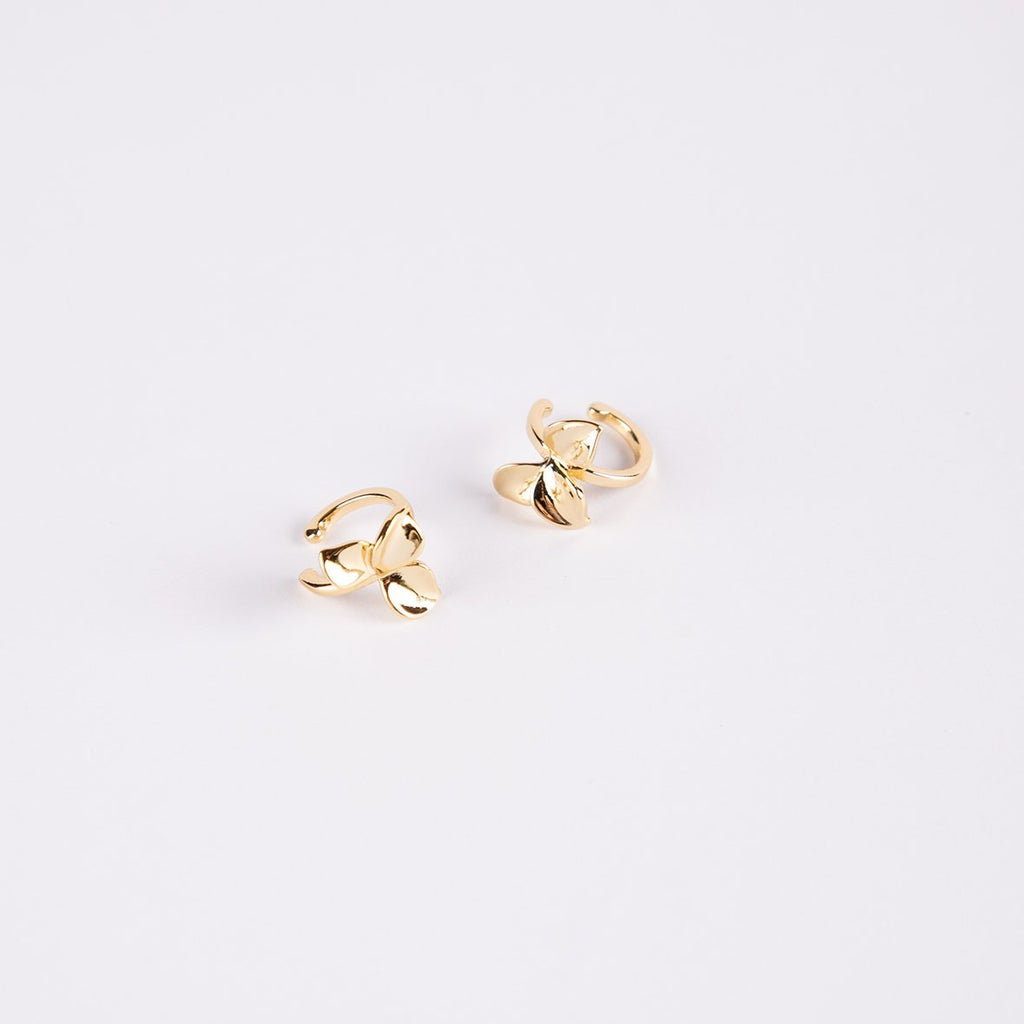 Carmona Brass Gold Plated Ear Cuffs With A Flower - curAtiv Jewellery
