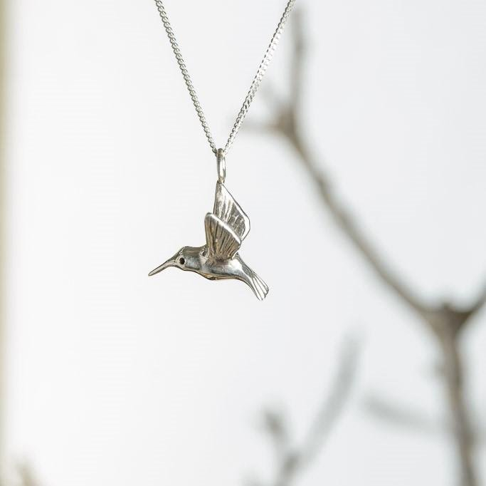 curAtiv proudly gives you Hummingbird - Silver Mini Sculpture Pendants.