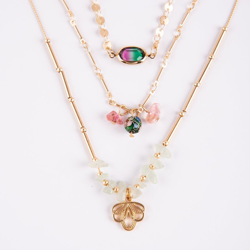 Lotus Flower 3 Layer Necklace Set - curAtiv Jewellery