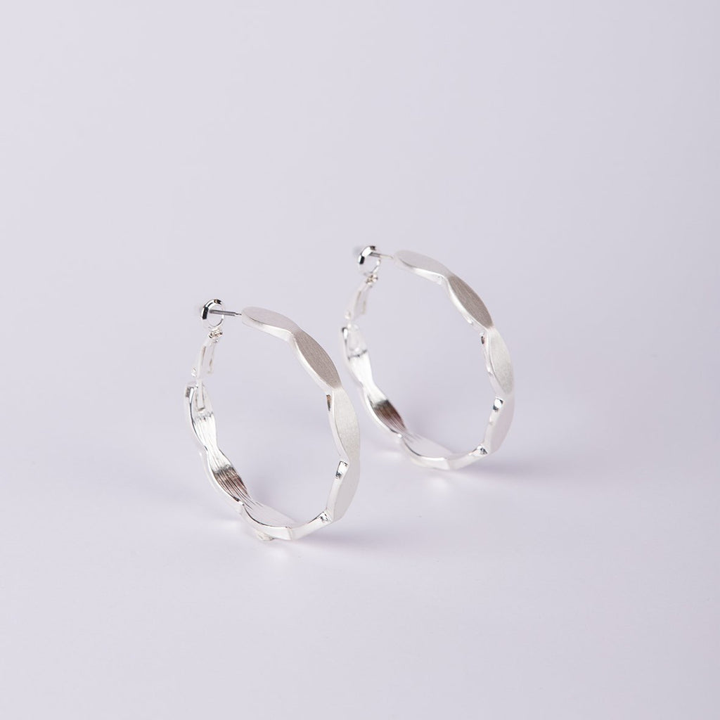 Luxembourg Brushed Silver Hoops - curAtiv Jewellery