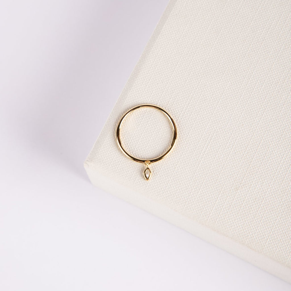 Rotura Delicate Sterling Silver Gold Plated Ring With Marquise Stone - curAtiv Jewellery