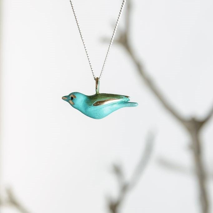curAtiv proudly gives you Sparrow - Green Mini Sculpture Pendants.