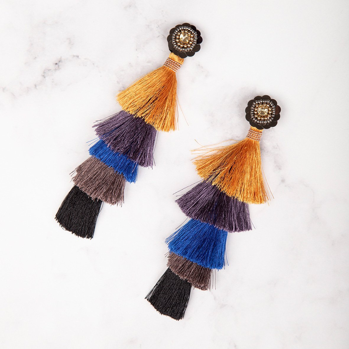 curAtiv proudly gives you Tokyo Beaded Flower Statement Earrings Earrings