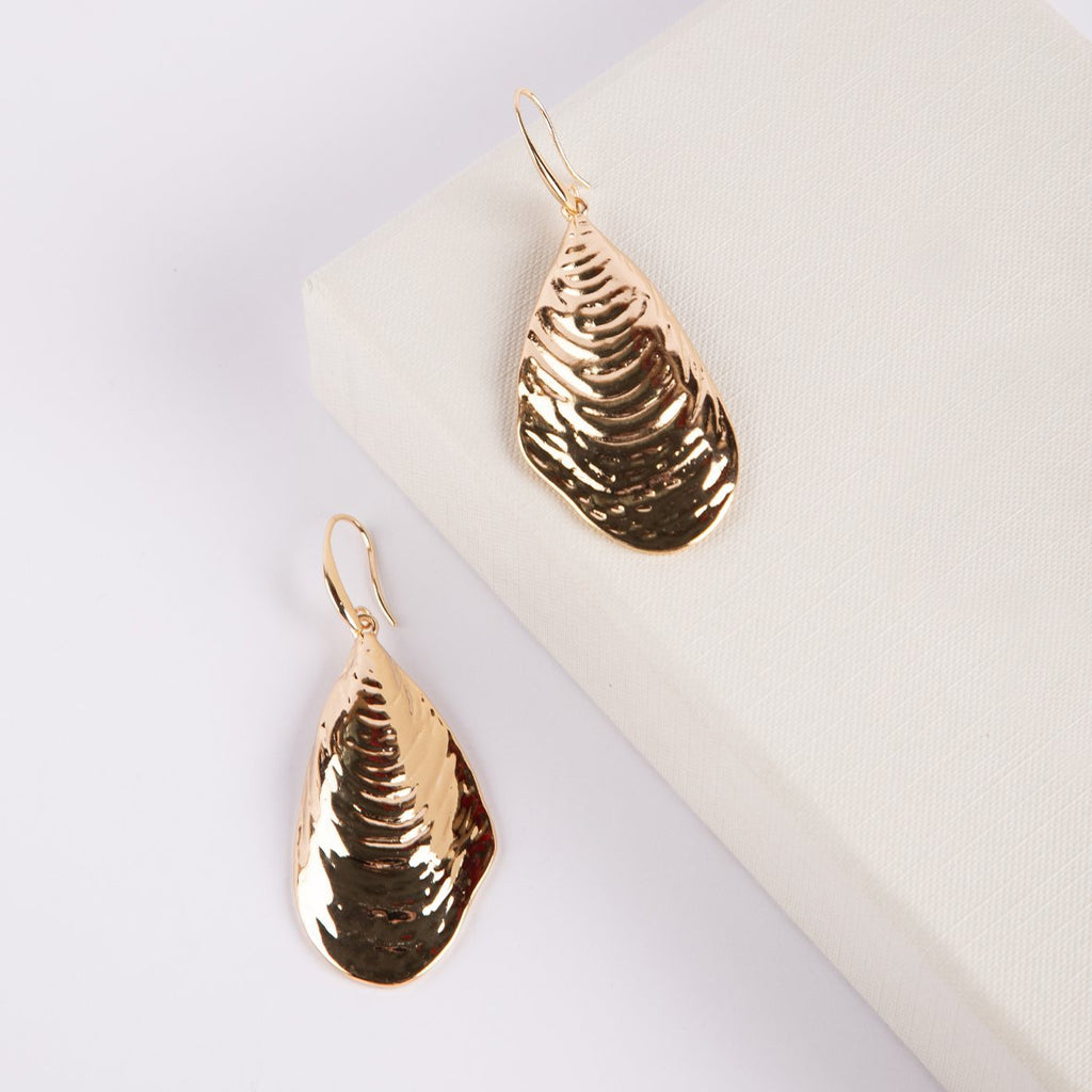 Yzerfontein Mussel Shell Gold Statement Earrings - curAtiv Jewellery