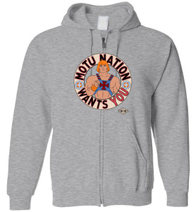 MOTU Nation Want's YOU: Full Zip Hoodie