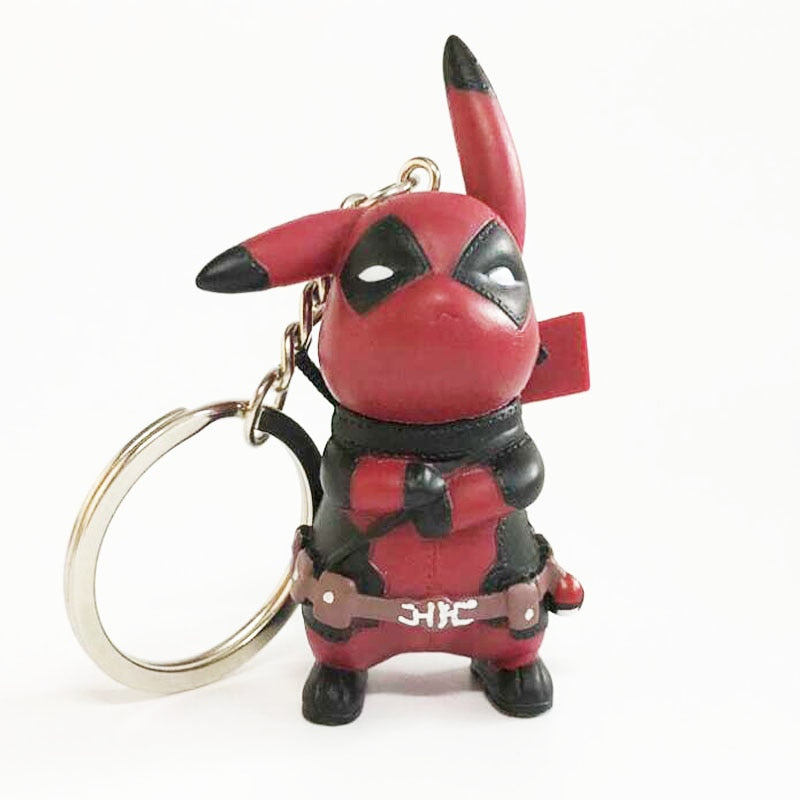 Funny Cute Pikachu Cosplay Deadpool Keychain