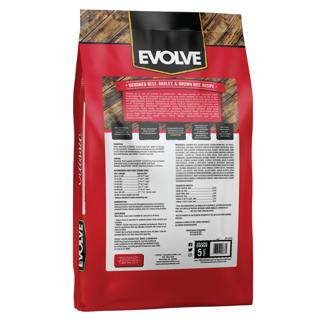 Evolve Classic Beef, Barley & Brown Rice Recipe Dog Food