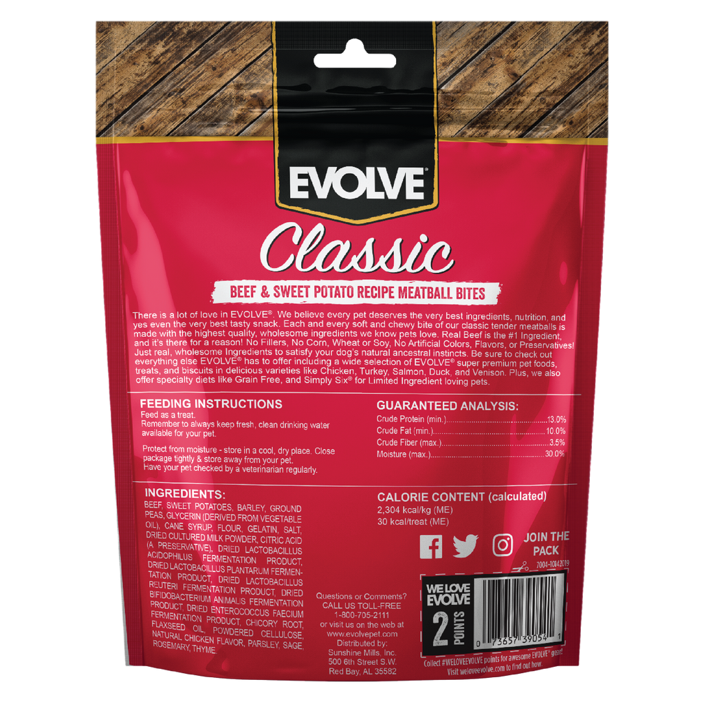 Evolve Classic Beef & Sweet Potato Recipe Meatball Bites