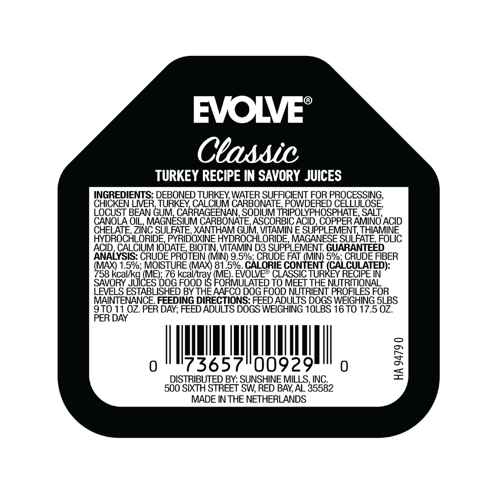 Evolve Classic Crafted Meals Turkey Recipe Dog Food