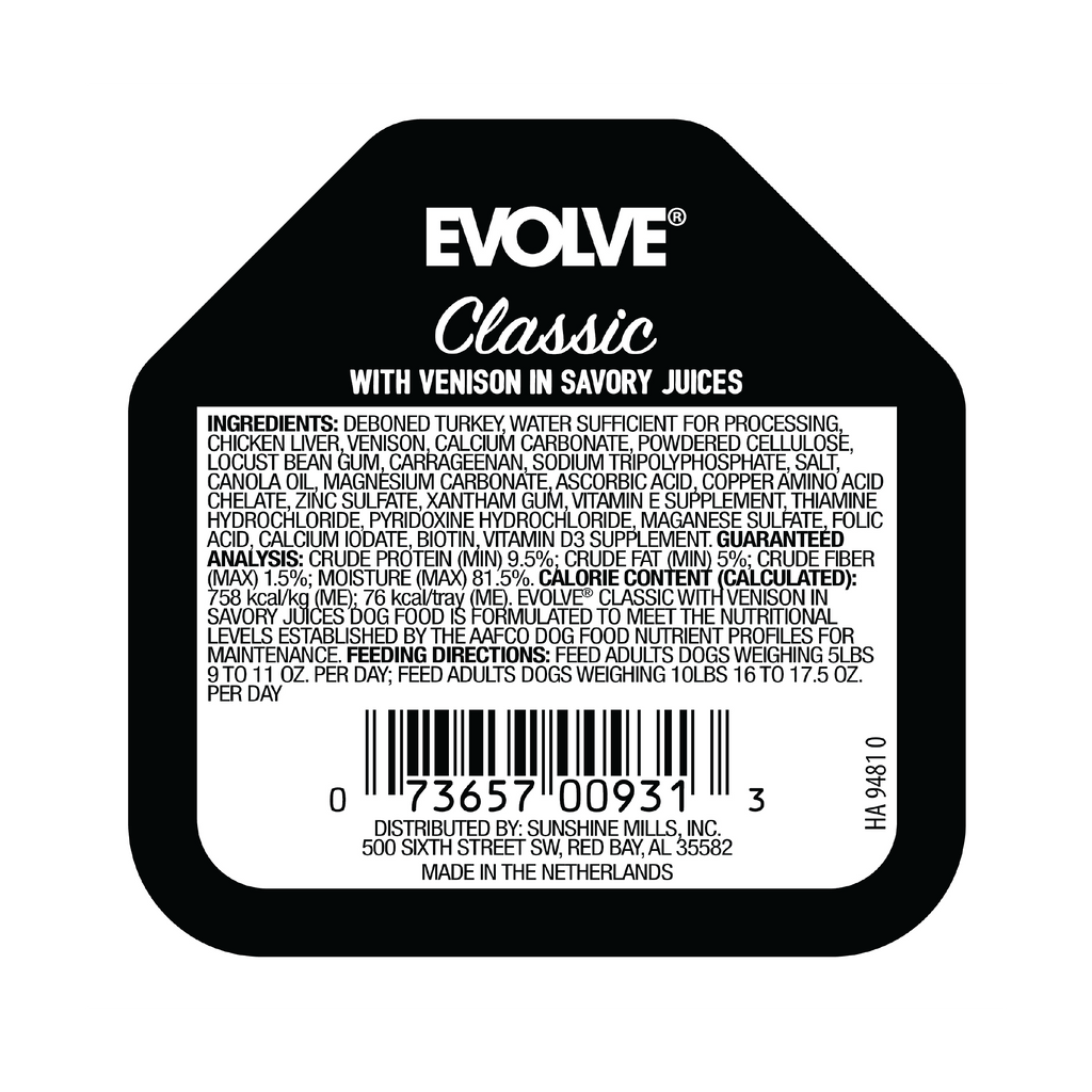 Evolve Classic Crafted Meals with Venison Dog Food