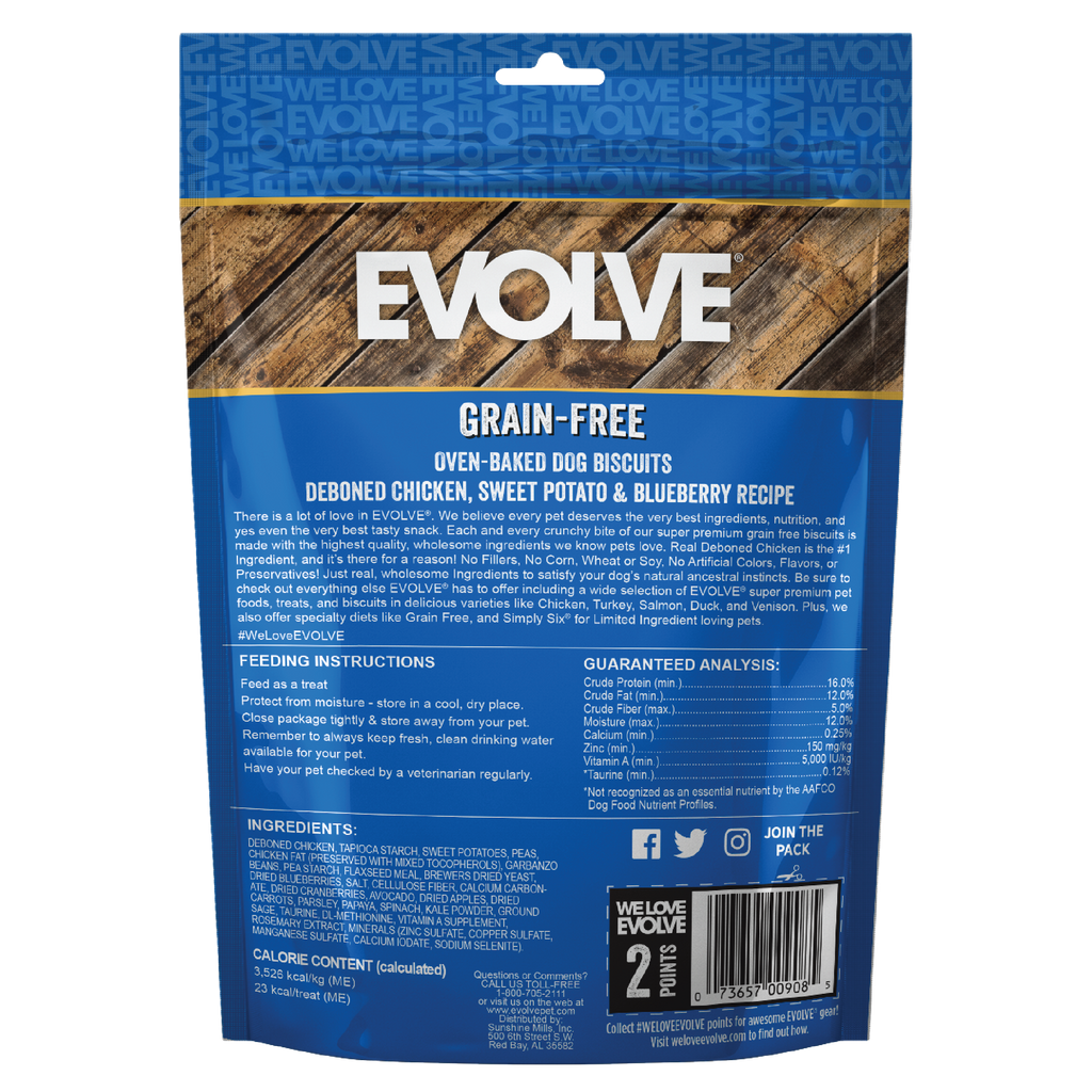Evolve Grain Free Oven Baked Dog Biscuits Chicken