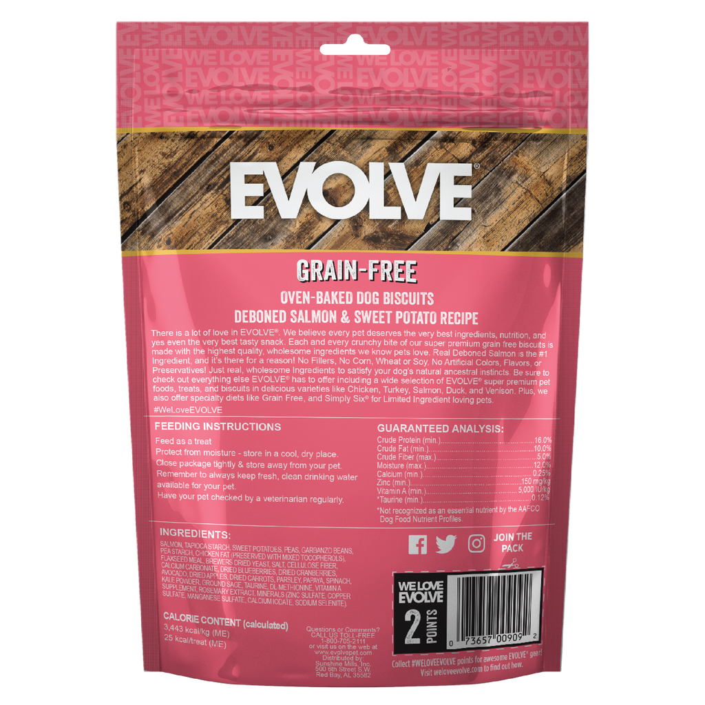 Evolve Grain Free Oven Baked Dog Biscuits Salmon