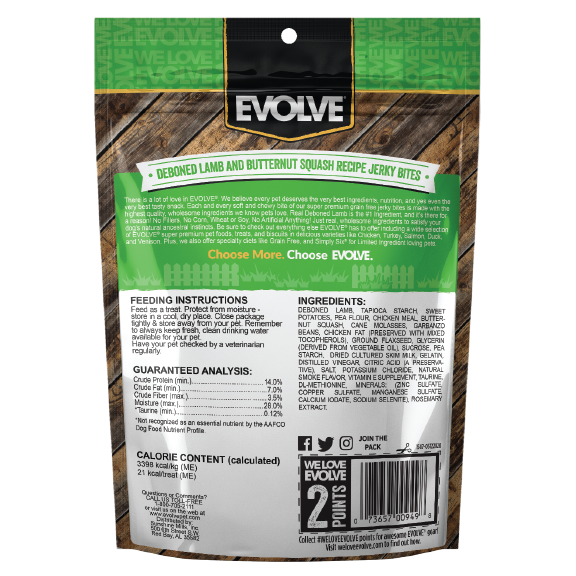 Evolve Grain Free Lamb Recipe Jerky Bites