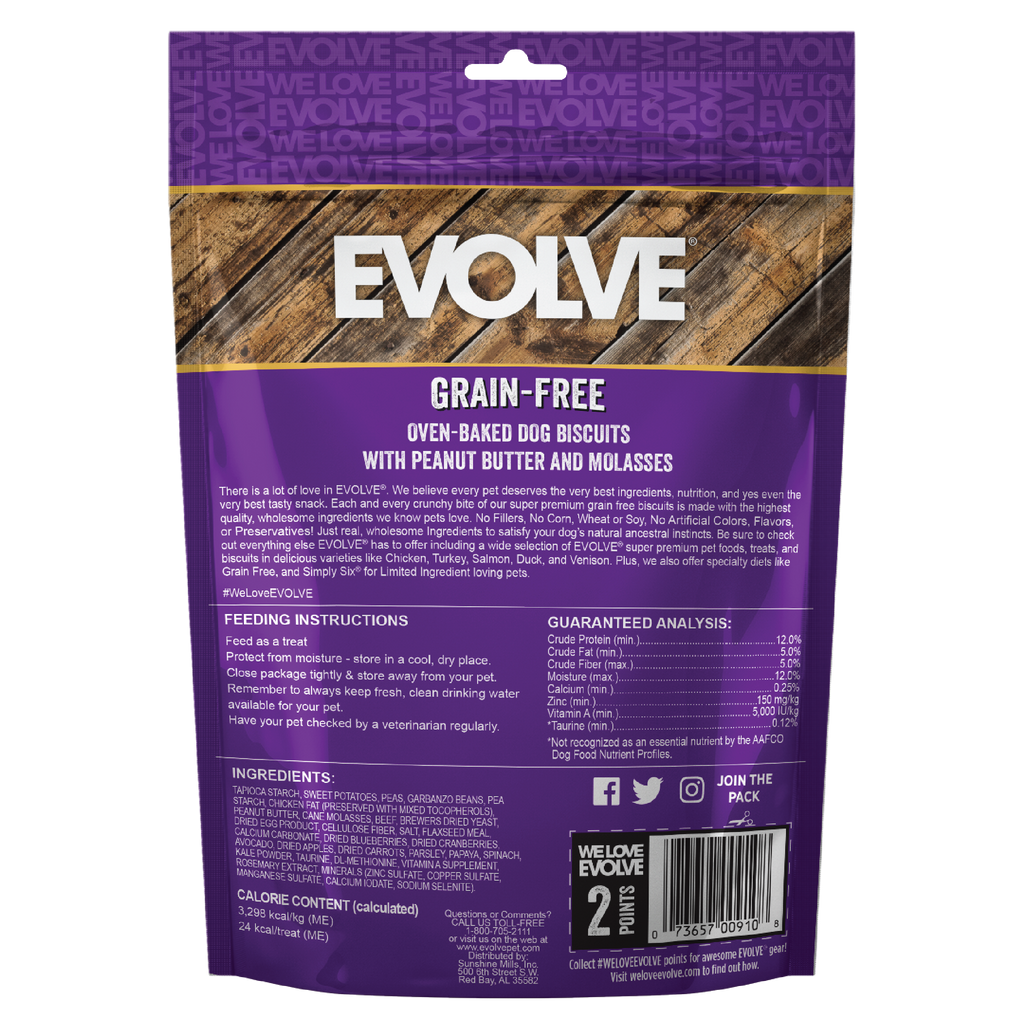Evolve Grain Free Oven Baked Dog Biscuits Peanut Butter