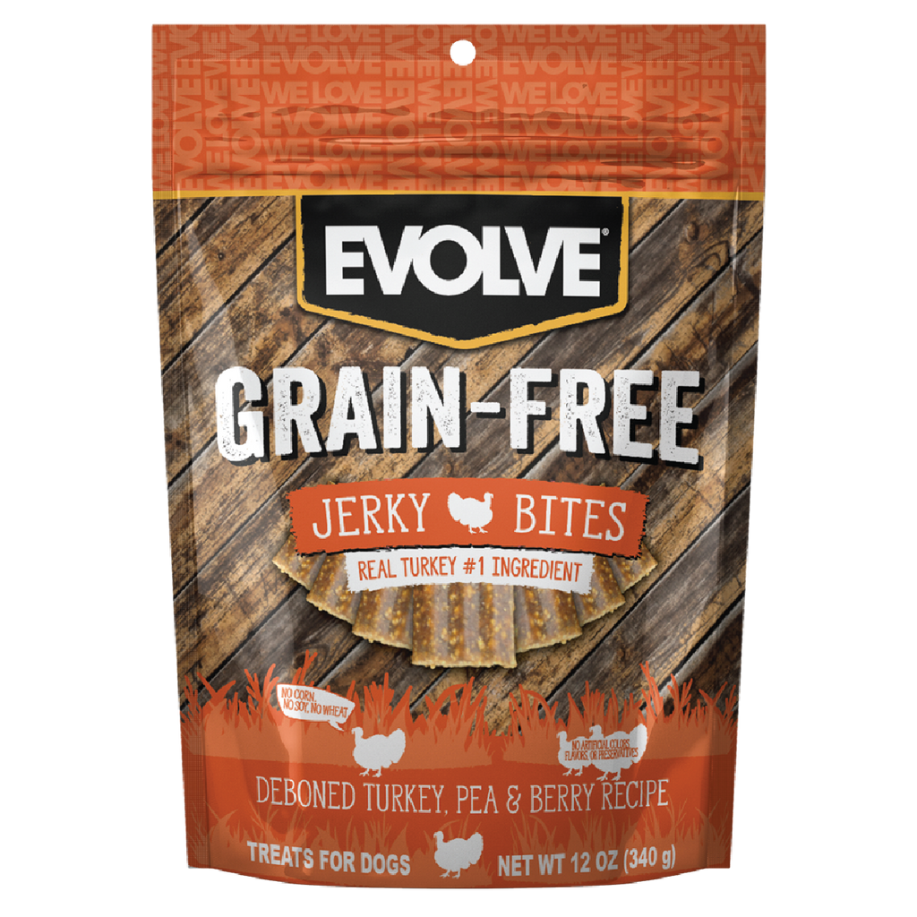 Evolve Grain Free Turkey, Pea, & Berry Recipe Jerky Bites