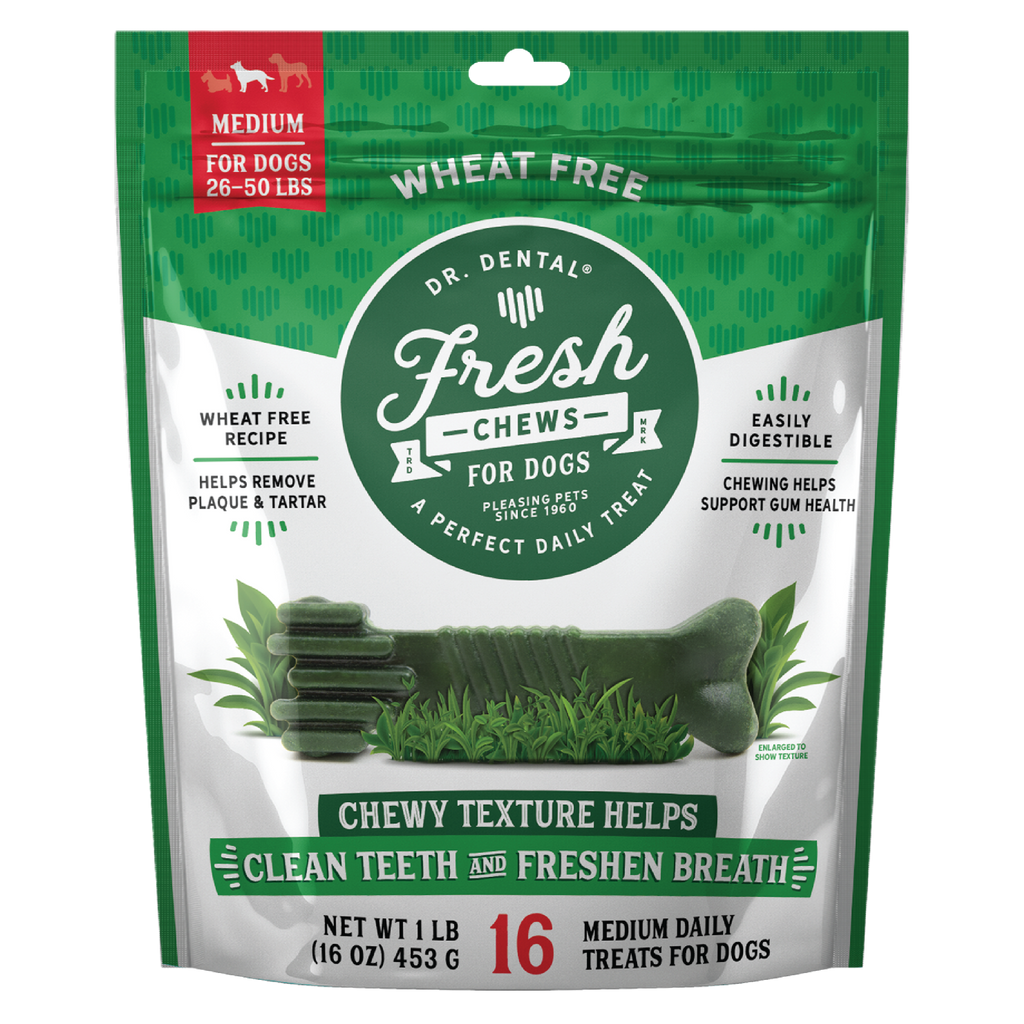 Dr. Dental Fresh Chews Medium Dental Dog Treats, 16ct