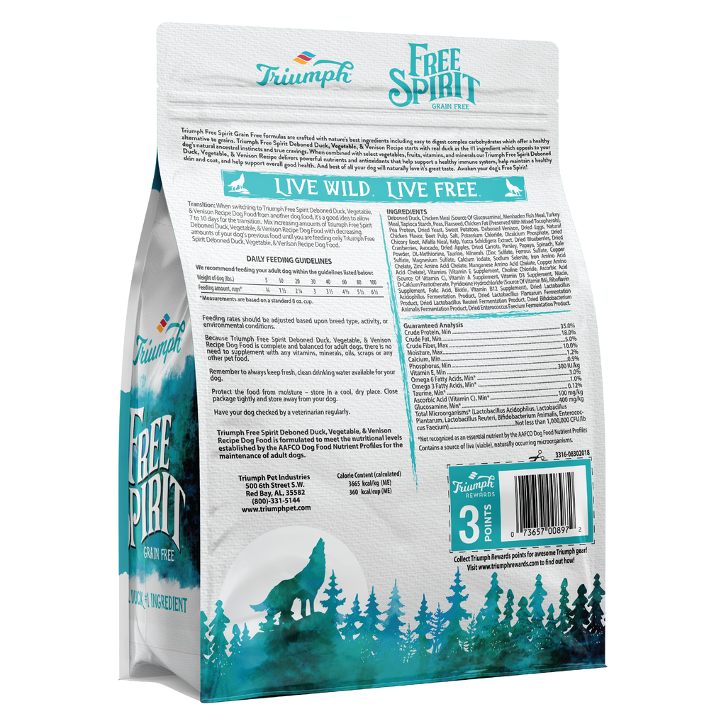 Triumph Free Spirit Grain Free Duck, Vegetable, & Venison Recipe Dog Food