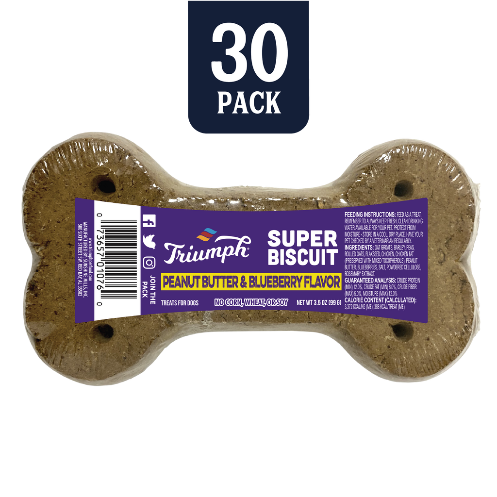 Triumph Peanut Butter & Blueberry Flavor Super Biscuit 30 Pack