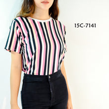 Load image into Gallery viewer, Striped Ringer Crop Top