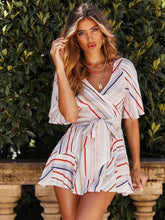 Load image into Gallery viewer, Striped V Neck Tie-Wrap Ruffled Short Dress