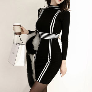 Stand Neck Striped Patchwork Black Long Sleeve Dress