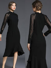 Load image into Gallery viewer, Trendy Gauze Patchwork Fishtail Elegant Black Dress