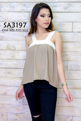 Tow-Toned Sleeveless Blouse