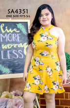 Load image into Gallery viewer, Floral Halter Plus-size Dress