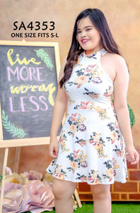 Floral Halter Plus-size Dress