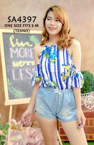 Open-Shoulder Top and Shorts Terno