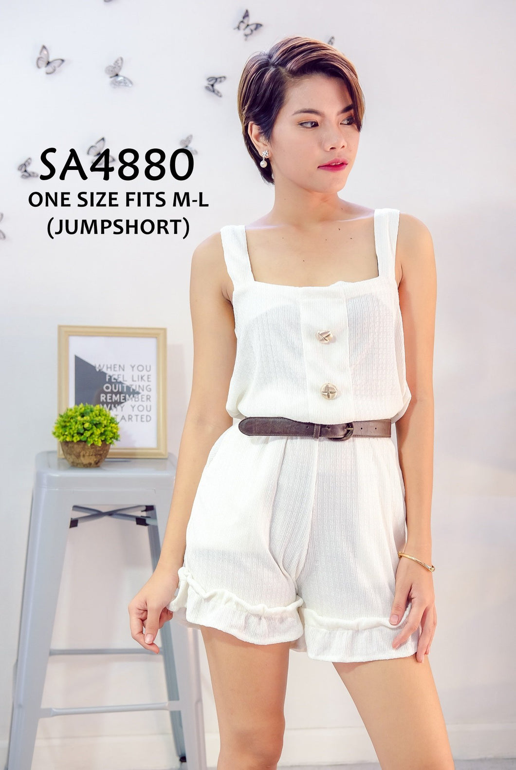 Ruffled Shorts Plain Romper