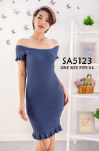 Load image into Gallery viewer, Plain Knit Off-shoulder Bodycon Dress