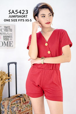 Overlap Plain Romper Button