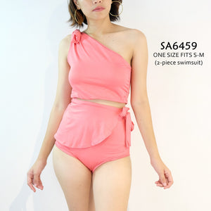 Plain Asymmetric 2-piece Swimsuit