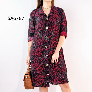 Collar Printed Longsleeves Dress