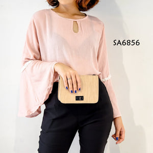 Big Size Bell Sleeves Plain Formal Top