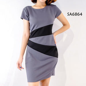 Two Tone Short Sleeves Office Dress