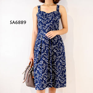 Floral Tape Strap Knee Level Dress