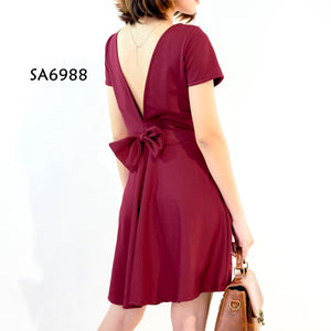 Solid Deep V-back Dress