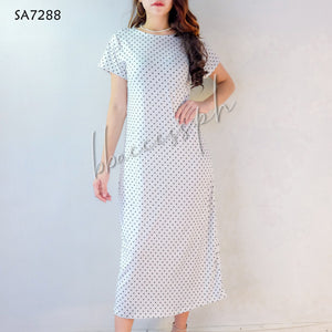 Solid Dotted Long Dress