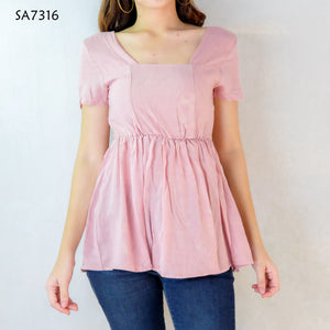 Peplum Square Neck Short Sleeve Top
